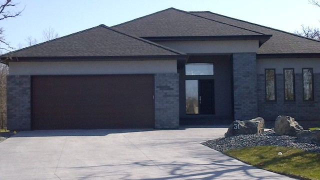 Grey brick feature - Modern - Exterior - other metro - by Horrill Construction Ltd.