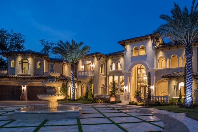 Gulf Coast Estate Evening Exterior Mediterranean