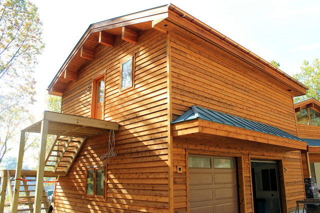 Half Round Copper Gutters Rustic Exterior New York