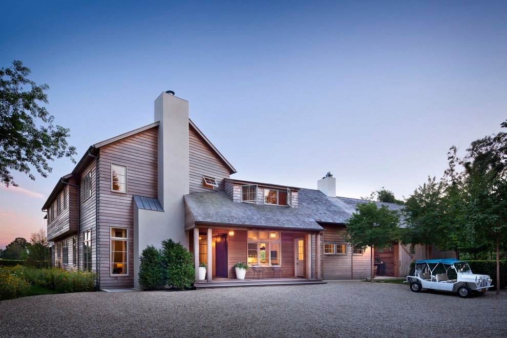 Transitional wood exterior home photo in New York