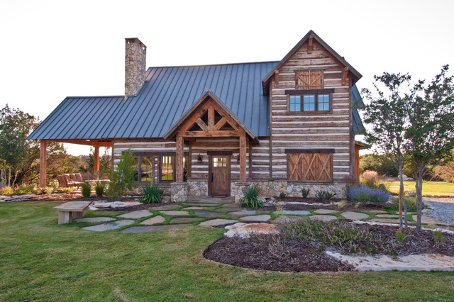 Hand hewn skin siding rustic exterior other metro for Log slab siding