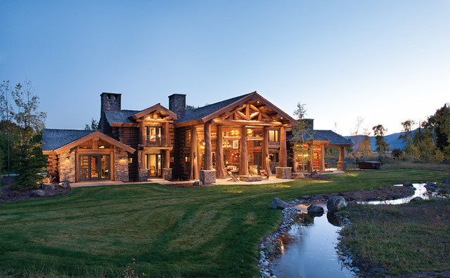 Handcrafted Log Home In Jackson Hole Rustic Exterior