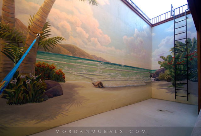 Hawaiian Paradise Retaining Wall Mural
