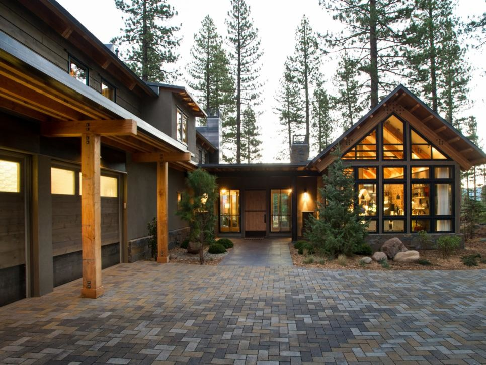 Large rustic brown wood exterior home idea in Sacramento