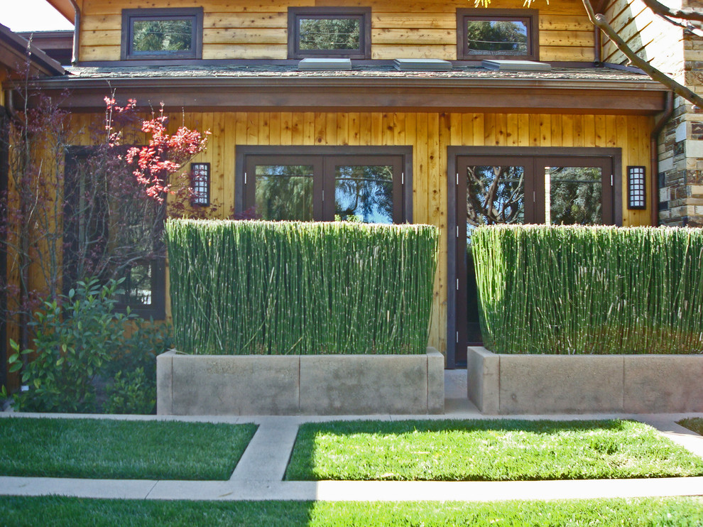 Inspiration for a rustic wood exterior home remodel in San Francisco