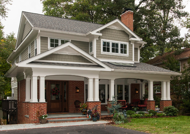 Exterior window trim ideas - Hiding A Roof Raise Craftsman Exterior Dc Metro By