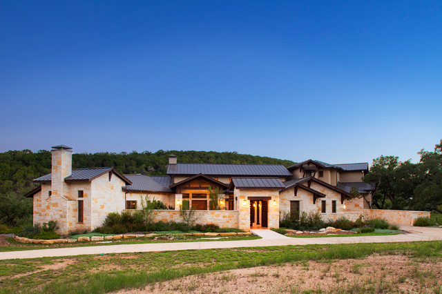 Hill country custom home rustic exterior austin by Custom home plans texas