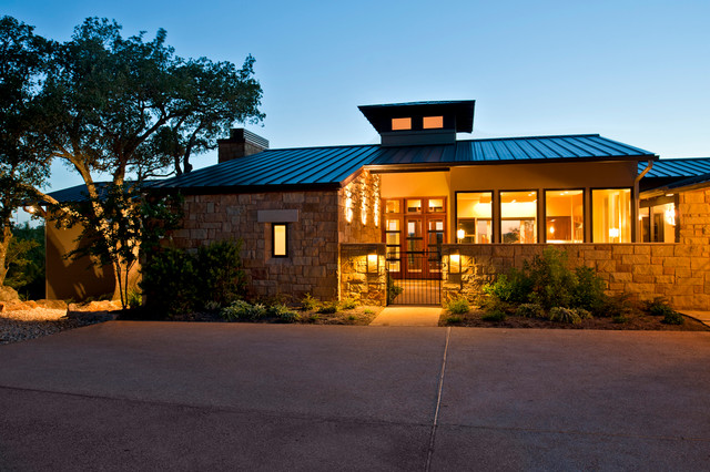 Hill Country Modern Parade Home Exterior At Dusk