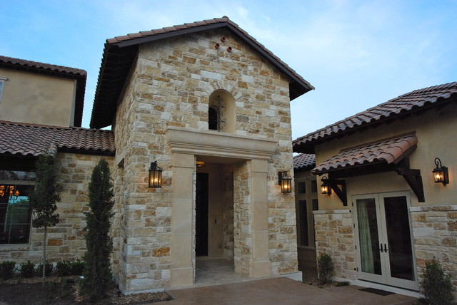 Hill Country Tuscan Home with Courtyard mediterranean-exterior