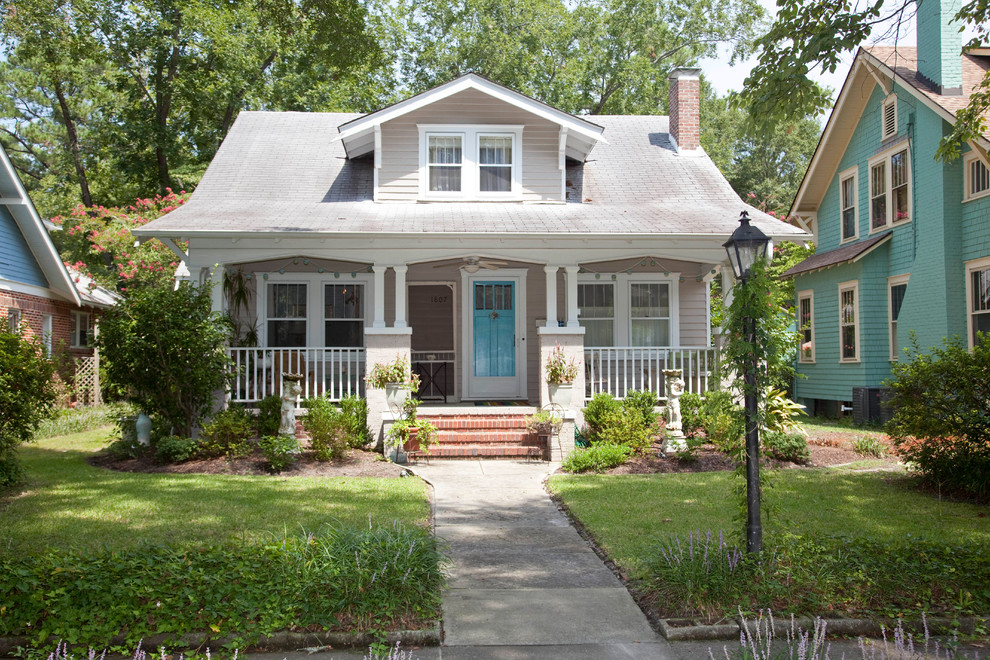 Traditional gray two-story exterior home idea in Wilmington