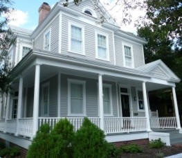 Historic Home With Grey Exterior Paint Traditional