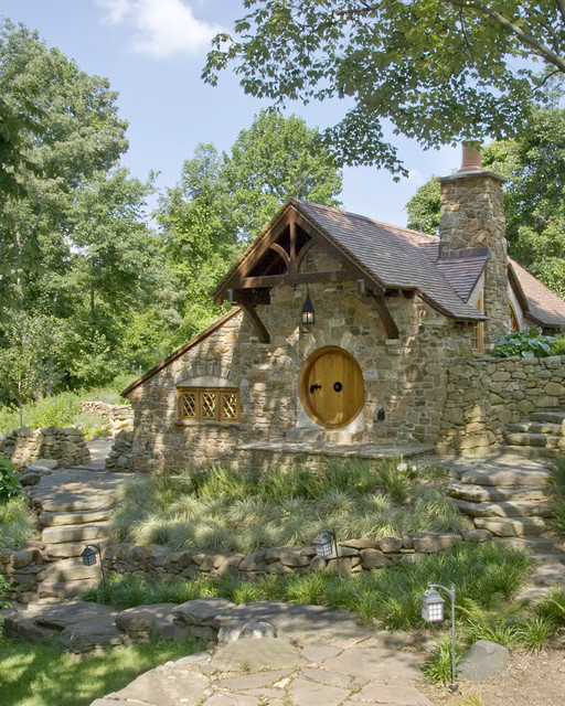 hobbit house front view rustic exterior