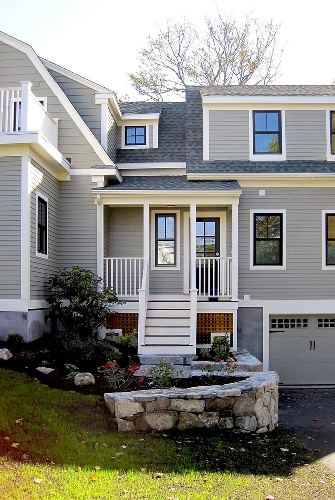 Mid-sized elegant gray three-story wood house exterior photo in Boston with a shingle roof