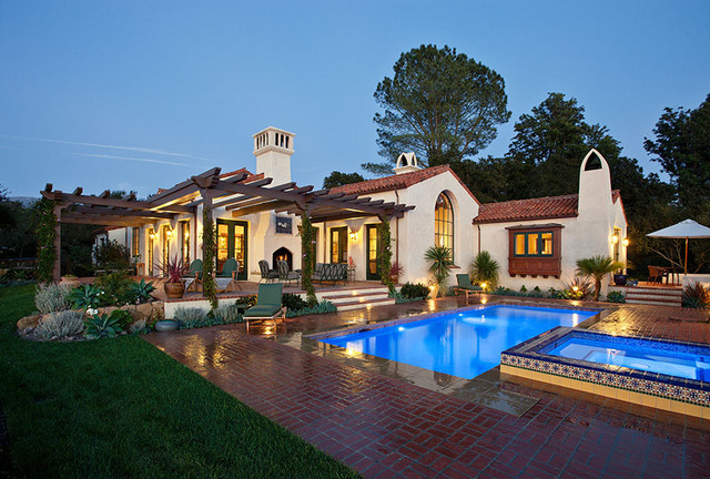 hope ranch spanish style custom home exterior