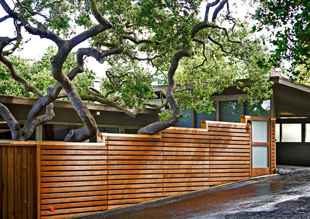 Inspiration for a contemporary gray wood exterior home remodel in San Francisco