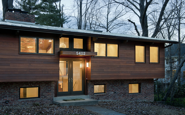 House at dusk contemporary exterior dc metro by for Split level ranch remodel