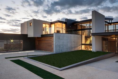 Home elevation with concrete facade