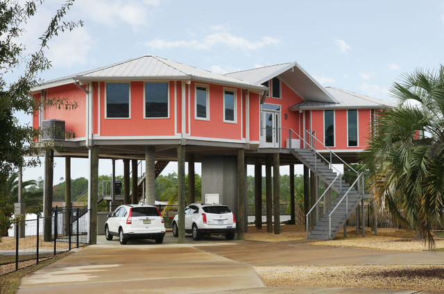 Fresh Hurricane-Proof Home on Pilings (Stilt House) - Home Front View  MO94