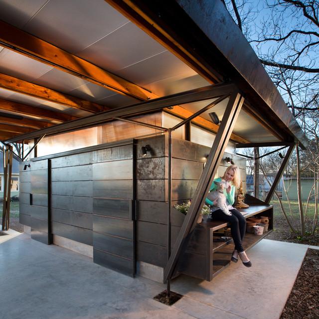 hyde park carport pavilion modern exterior austin by moontower design build. Black Bedroom Furniture Sets. Home Design Ideas