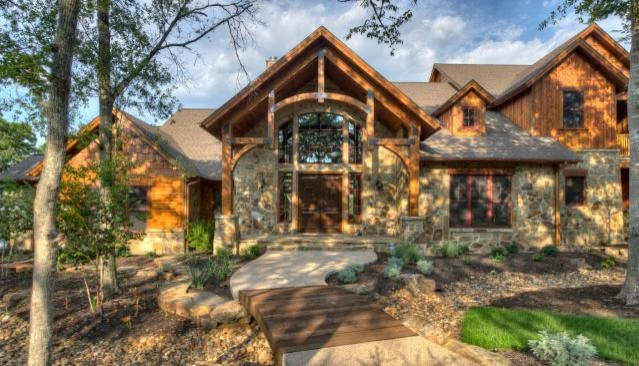 Indian lakes mountain lodge style rustic exterior for Custom rustic homes