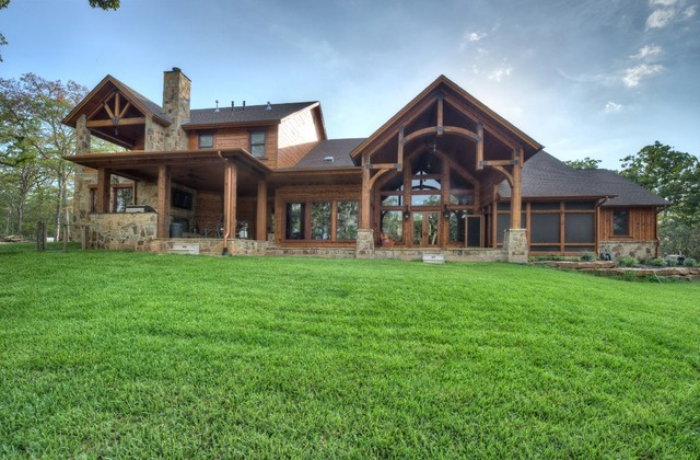 Indian lakes mountain lodge style rustic exterior houston by ellis custom homes llc Rustic home architecture