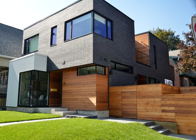 Industrial look of metal siding incorporated into warmth of cedar ...