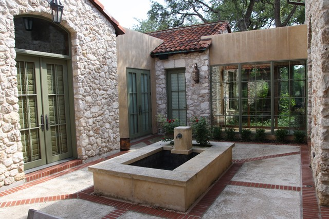 Interior Courtyard Fountain Mediterranean Exterior