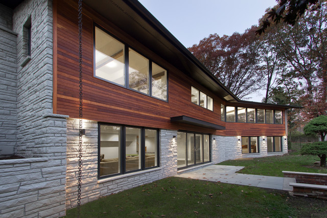 Ipe and stone cladding modern exterior new york by for Modern homes with stone exterior