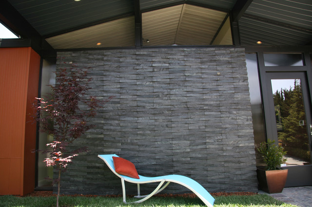 Lovely Island Stone Silver Quartzitic Slate VTile Exterior Wall Modern Exterior