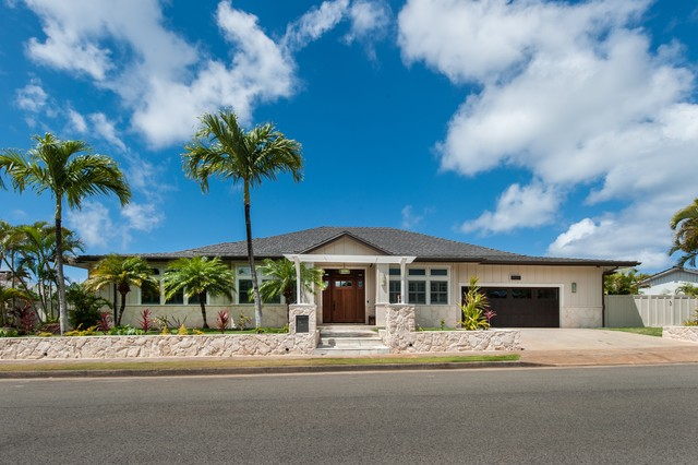 Island tranquility transitional exterior hawaii by for Island home designs hawaii