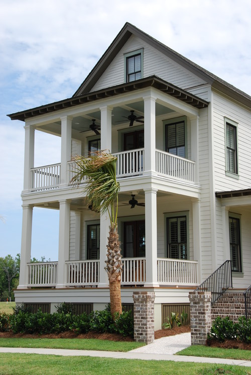 Coasting the lowcountry double front porches stack up for Traditional beach house designs