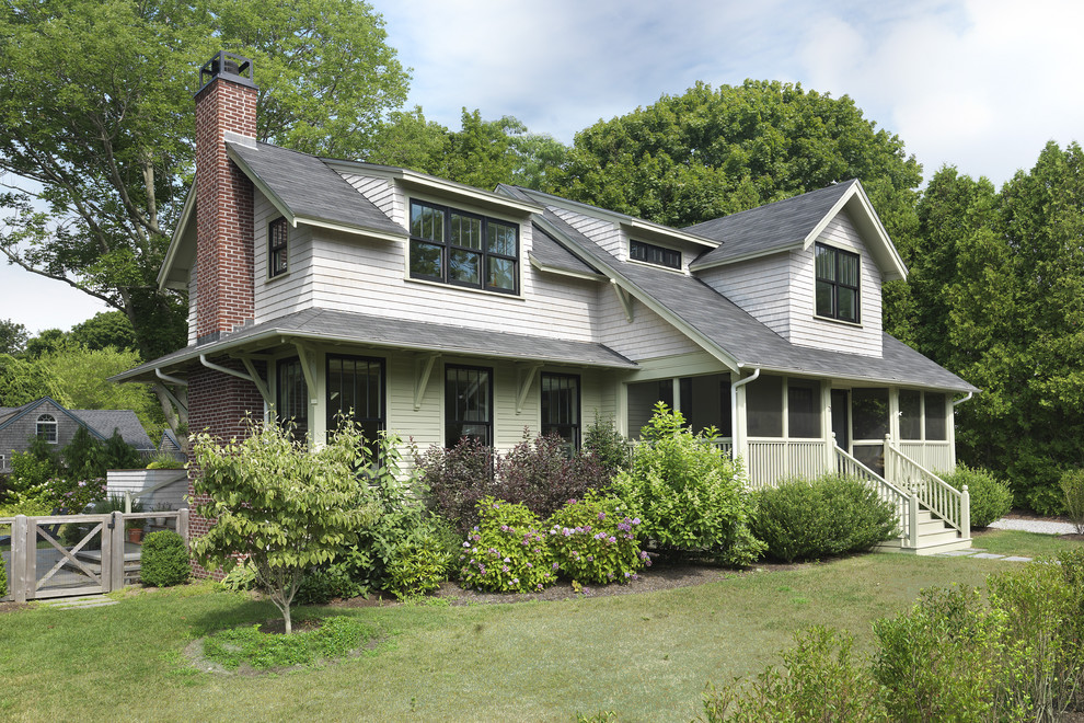 Mid-sized elegant two-story wood gable roof photo in Providence