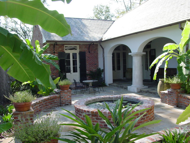 Jennings home mediterranean exterior new orleans for New orleans style house plans courtyard