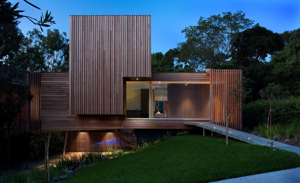Mid-sized contemporary brown two-story wood flat roof idea in Melbourne