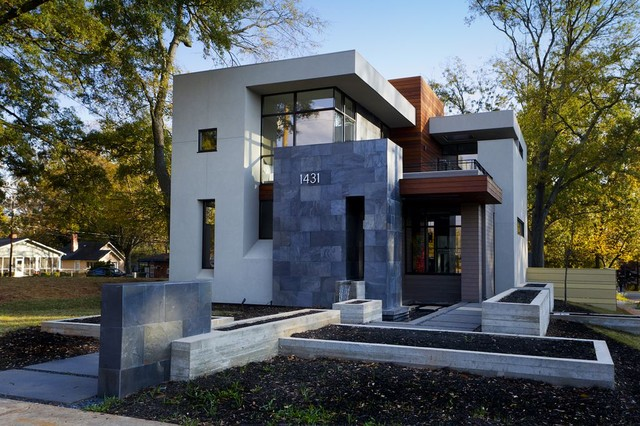 Design ideas for a mid-sized contemporary two-storey exterior in Atlanta.