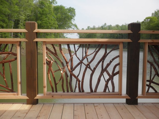 lake at lissara lodge deck railing rustic exterior