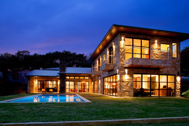 Lake austin waterfront home contemporary exterior for Modern homes austin texas