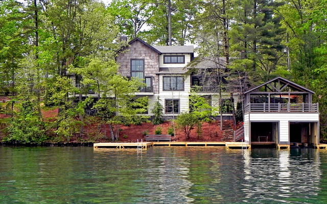 Lake burton custom homes rustic exterior atlanta for Lake front homes