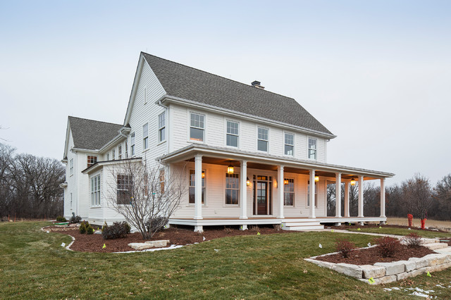 Lake elmo greek revival farmhouse traditional exterior for Traditional farmhouse plans