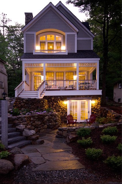 Lake front home lake sunapee nh victorian exterior for Waterfront cottage designs