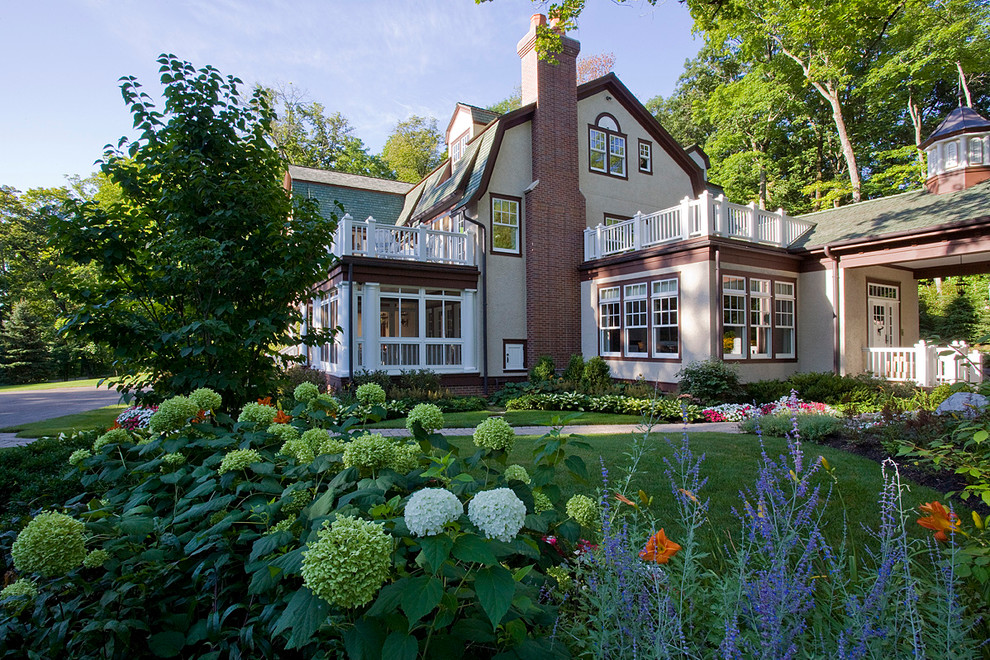 Inspiration for a timeless two-story exterior home remodel in Chicago