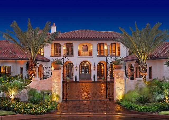 Lake home exterior mediterranean exterior austin for Cornerstone home design