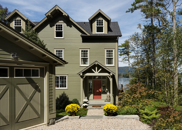 Lake house traditional exterior new york by crisp architects for Lake house exterior paint colors