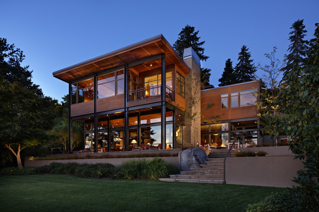 Lake House Two - Exterior - Modern - Exterior - Seattle - by ... on backyard idea deck design, tami michaels seattle interior design, dwell design, seattle garden design, seattle home up, front porch wood deck design, seattle modern builders, modern roof design, seattle modern kitchen, modern townhouse design, seattle modern house, seattle modern contemporary, seattle modern architecture, seattle waterfront homes, pergola patio roof design, seattle home interiors, seattle modern furniture, seattle architects, seattle washington homes, ranch style shipping container home design,