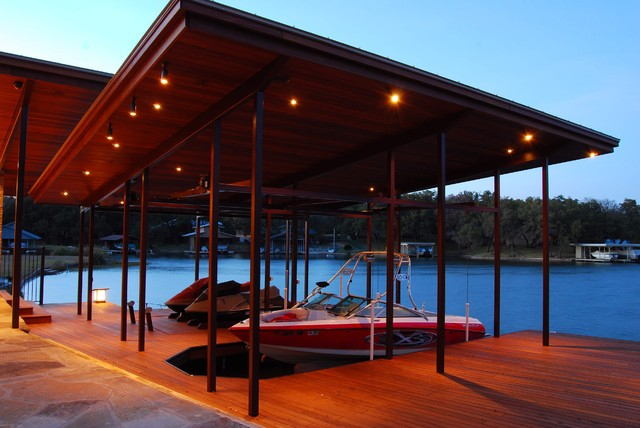 lake lbj pool cabana boat house contemporary exterior