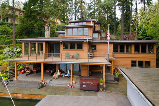 Lake Oswego Lake remodel eclectic-exterior
