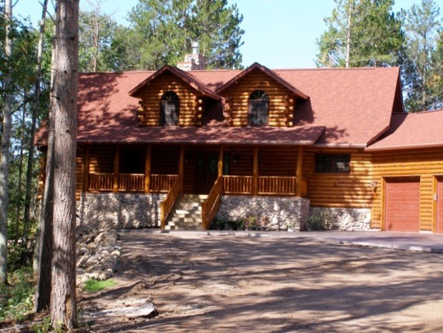 Lake side log home in northern wisconsin rustic Northern wisconsin home builders