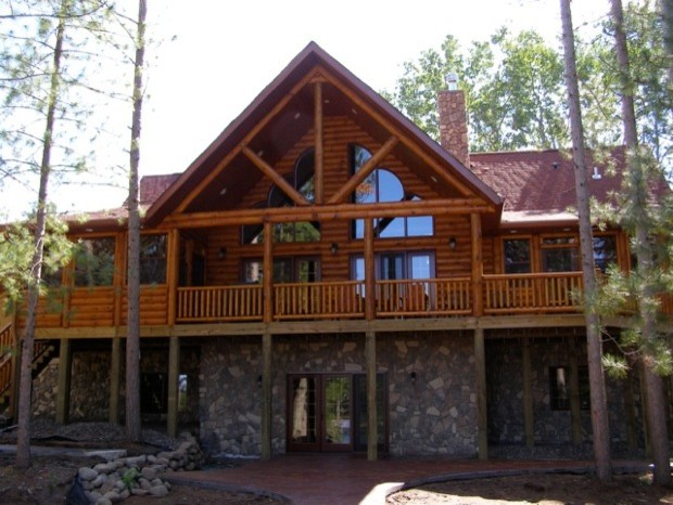 Lake side log home in northern wisconsin rustic for Northern wisconsin home builders