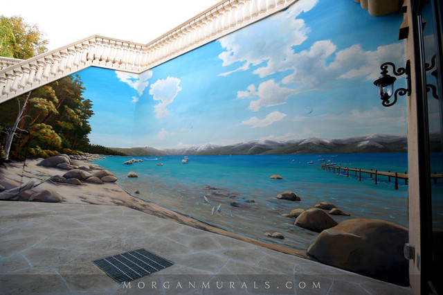 Lake tahoe wall mural beach style exterior san for Exterior wall mural ideas