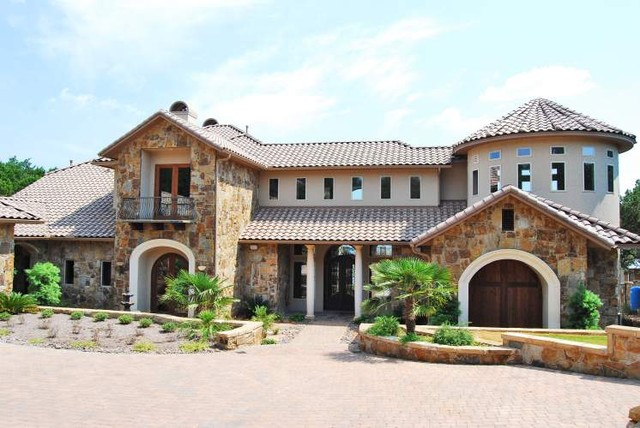 Lake travis custom home mediterranean exterior Mediterranean custom homes